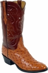 Mens Lucchese Classics Cognac Full Quill Ostrich Custom Hand-Made Boots L1192