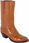 Mens Lucchese Classics Cognac Full Quill Ostrich Top & Bottom Custom Hand-Made Boots L1161