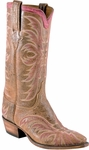 Mens Lucchese Classics Cognac Gato Calf  with Talon Stitch Pattern and Short Straight CollarCustom Hand-Made Boots L1684