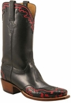 Mens Lucchese Classics Leggenda Collection Black Calf Custom Hand-Made Cowboy Boots L1659