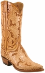 Mens Lucchese Classics Natural & Brown Hand Tooled Leather Custom Hand-Made Cowboy Boots L1633