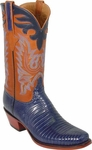 Mens Lucchese Classics Navy Blue Lizard Custom Hand-Made Boots L1290