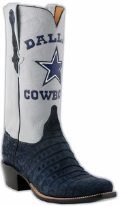 Mens Lucchese Classics NFL Dallas Cowboys Suede Caimen Custom Hand-Made Cowboy Boots L1436
