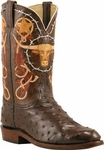 Mens Lucchese Classics Nicotine Full Quill Ostrich-Hand Tooled Custom Hand-Made Leather Boots L3148