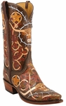 Mens Lucchese Classics Rust Barbed Wire Tooled Leather Custom Hand-Made Boots L1358