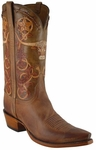 Mens Lucchese Classics Rust Barbed Wire Tooled Leather Custom Hand-Made Boots L1604
