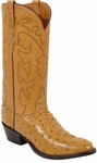 Mens Lucchese Classics Saddle Tan Full Quill Ostrich Custom Hand-Made Boots L1165
