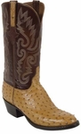 Mens Lucchese Classics Saddle Tan Full Quill Ostrich Custom Hand-Made Boots L1179