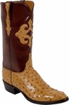 Mens Lucchese Classics Saddle Tan Full Quill Ostrich Custom Hand-Made Boots L1184