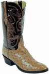 Mens Lucchese Classics Saddle Tan Full Quill Ostrich Custom Hand-Made Leather Boots L1221