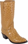 Mens Lucchese Classics Saddle Tan Full Quill Ostrich Top & Bottom Custom Hand-Made Boots L1159