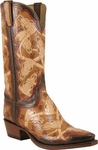 Mens Lucchese Classics Tan Brands & Skulls Hand Tooled Leather Custom Hand-Made Cowboy Boots L1634