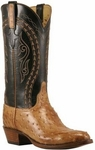 Mens Lucchese Classics Tan Burnished Full Quill Ostrich Custom Hand-Made Cowboy Boots L1384