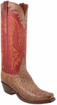 Mens Lucchese Classics Tan Mad Dog Full Quill Ostrich Custom Hand-Made Cutter Tall Boots L8006