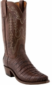 """Store Special Size 11.5 Lucchese 1883 Mens Barrel Brown Hornback Caiman Tail Cowboy Boots N1126<Font color=""""Red""""> D&EE</Font>"""