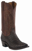 "Store Special Size 11.5 Lucchese Men's ""Conrad"" Barrel Brown Waxy Hornback Caiman Tail Cowboy Boots M2500<Font color=""Red""> EE</Font>"
