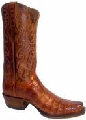 Store Special Size 11.5 Mens Lucchese Classics Cognac Burnished Ultra Belly Caiman Crocodile Leathers Boots E2154