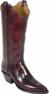 Womens Lucchese Classics Black Cherry Buffalo Leather Custom Hand-Made Boots L4558