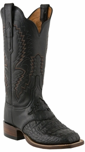"Lucchese Women's ""Mallory"" Black Waxy Hornback Caiman and Diego Inlay Saddle Vamp Boots C2057"