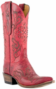 "Lucchese Women's ""Connie"" El Duke Stitch Pattern and Studs Red Burnished Mad Dog Goat Boots N4724"