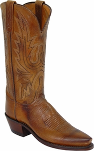 "Womens Lucchese ""Savannah"" Tan Mad Dog Goat Leather Boots N4540"