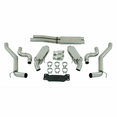 """MBRP 3"""" Dual Cat Back, Round Tips, T304 2010-2013 Chevy Camaro, V8 6.2L Automatic (L99)"""