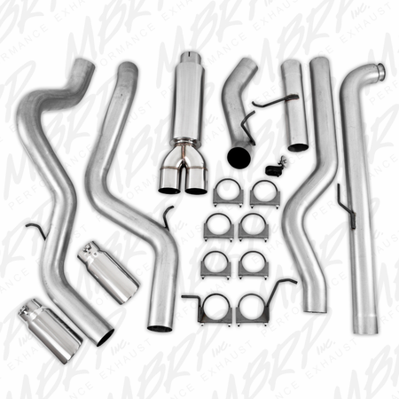 "MBRP 4"" Down Pipe Back, Cool Duals, Off-Road (includes front pipe), AL 2001-2007 Chevy/GMC 2500/3500 Duramax, EC/CC"