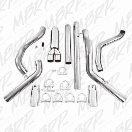 "MBRP 4"" Turbo Back, Cool Duals, T409 1999-2003 Ford F-250/350 7.3L"
