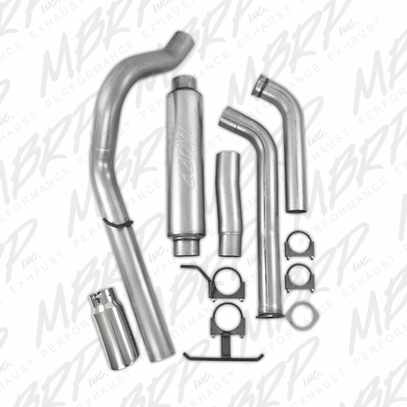 "MBRP 4"" Turbo Back, Single Side (Stock Cat) Exit, AL 2003-2005 Ford Excursion 6.0L"
