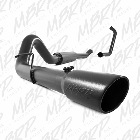 "MBRP 4"" Turbo Back, Single Side (Stock Cat) Exit, Black Coated 2003-2007 Ford F-250/350 6.0L, EC/CC"