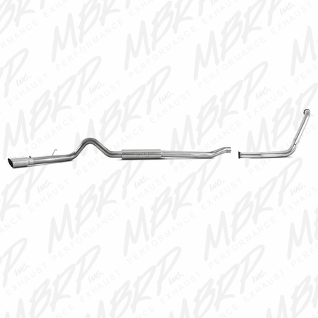 "MBRP 4"" Turbo Back, Single Side (Stock Cat) Exit, T409 2003-2007 Ford F-250/350 6.0L, EC/CC"