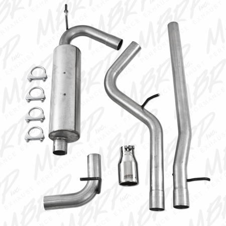 MBRP Cat Back, Single, AL 2007-2011 Jeep Wrangler (JK) 3.8L V6 2 dr