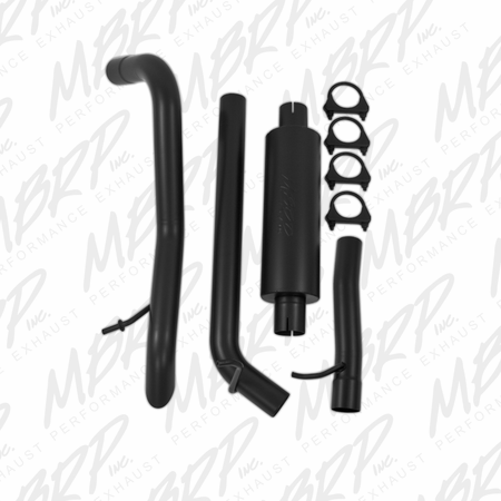 MBRP Off-Road Tail Pipe, Muffler before Axle, Black Coated 2007-2011 Jeep Wrangler (JK) 3.8L V6 4 dr