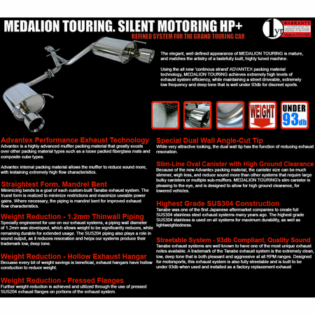 Tanabe Medalion Touring Exhaust System 14-14 Lexus IS250