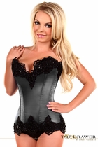Daisy TD-001 Gunmetal Satin Steel Boned Beaded Corset