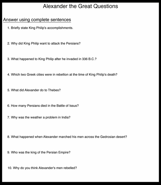 Alexander the Great Questions