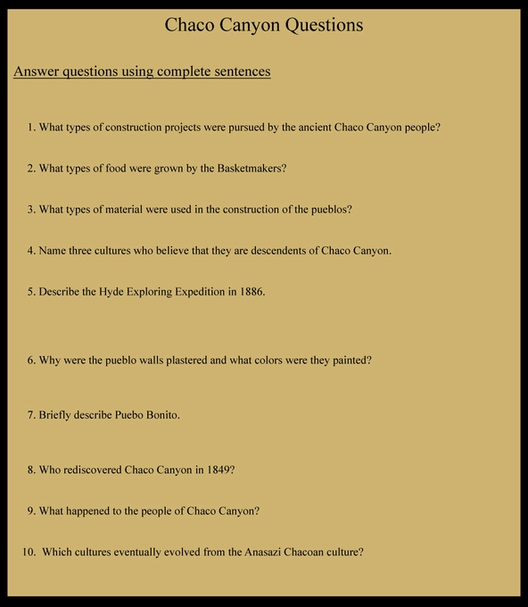 Chaco Canyon Questions