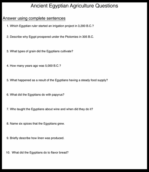Egyptian Agriculture Questions