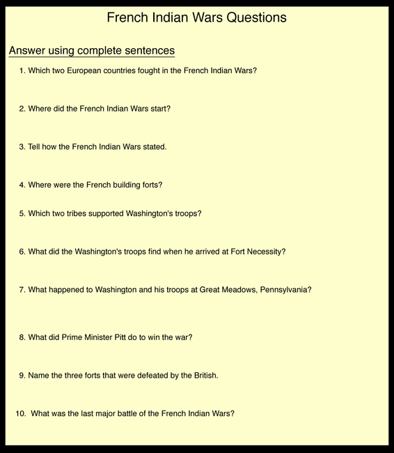 French Indian Wars Questions