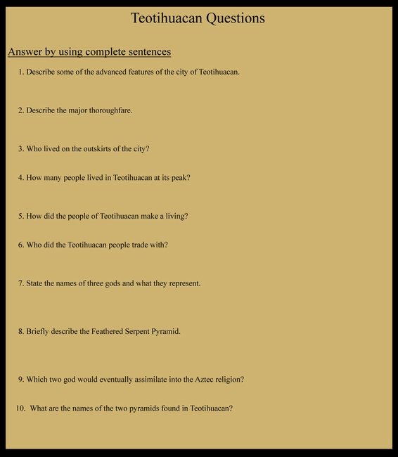 Teotihuacan Questions