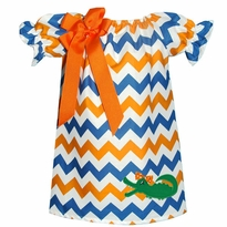 Applique Alligator Orange, White, And Blue Chevron Peasant Dress