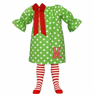 Applique Candy Cane Initial Lime Polka Dot Christmas Peasant Dress