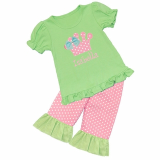 Applique Crown Ruffled Tee/Ruffled Short, Capri, or Pant Set