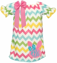 Applique Easter Bunny Chevron Peasant Dress