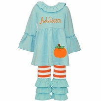 Applique Pumpkin Aqua and Orange Stripe Ruffled Knit Pant Set PRE-ORDER