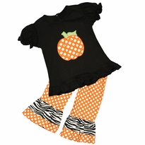Applique Pumpkin Ruffled Tee/Ruffled Pant Set