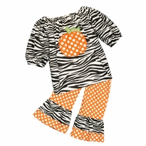 Applique Pumpkin Zebra Top/Ruffled Pant Set PRE-ORDER