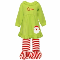 Applique Santa Ruffled Knit Pant Set PRE-ORDER