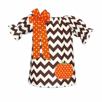 Brown Chevron Peasant Dress With Pumpkin Applique PRE-ORDER
