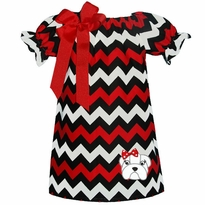 Bulldog Red/Black And White Chevron Peasant Dress